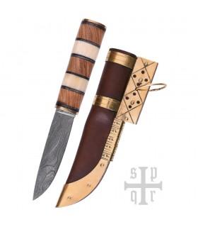Coltello Viking Seax, Acciaio Damasco