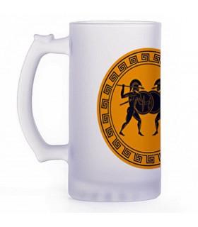 Boccale di birra combattenti greci, cristallo traslucido