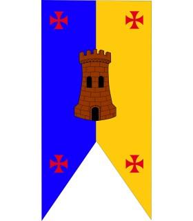 Stendardo medievale del castello bicolore con croci