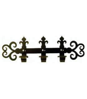 Gancio medievale in ferro battuto con 3 ganci (60x18 cms.)