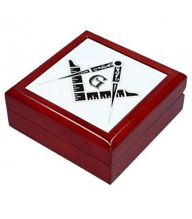 Portagioie con simboli massonici (13,8x13,8 cm)