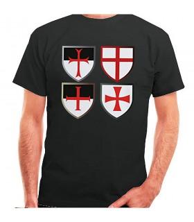 T-shirt nera Croci Templari, manica corta