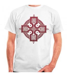 T-shirt bianca con Croce Celtica, manica corta