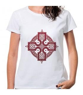 T-shirt Donna Bianca Croce Celtica, manica corta