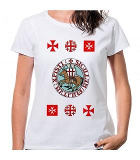 T-shirt Donna Bianca con croci Templari, manica corta