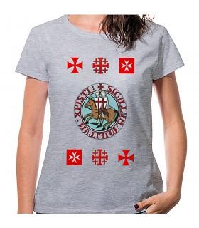 T-shirt Donna Grigio con croci Templari, manica corta