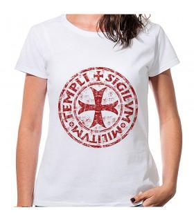 T-shirt Donna Bianca Croce e Leggenda dei cavalieri Templari