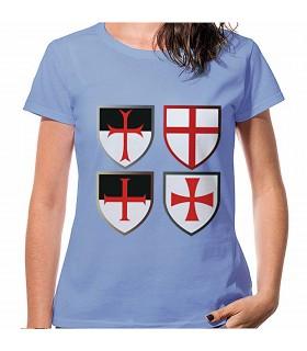 T-shirt Blu Croci Templari, manica corta