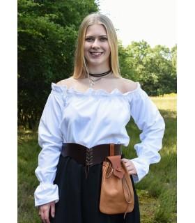 Blusa medievale manica lunga bianco, Carmen