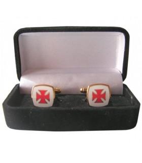 Gemelli Croce Templare smaltato, con un gioielliere