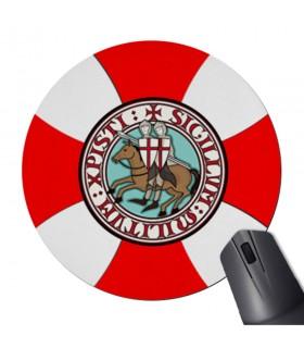 Tappetino per Mouse Mouse Rotondo Cavalieri Templari con Croce