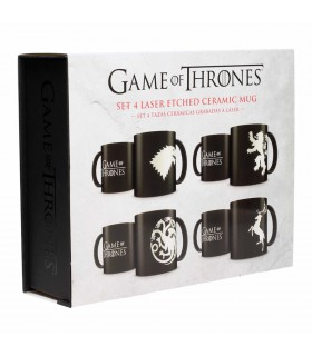 Set di 4 tazze con alcune case di Game of Thrones