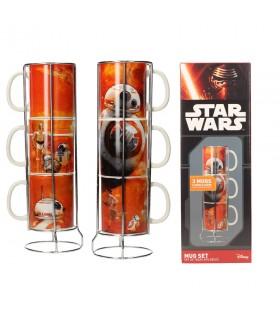 Set di 3 tazze impilabili in ceramica BB-8 droide di Guerre stellari. Ep VII