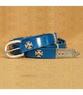 Cinghia Croce di malta, in pelle blu