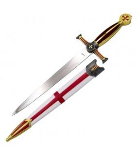Pugnale medievale Croce Templare Rossa, finitura rosso