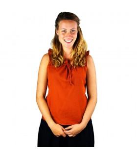 Blusa medievale senza maniche Adele, arancio ossido di