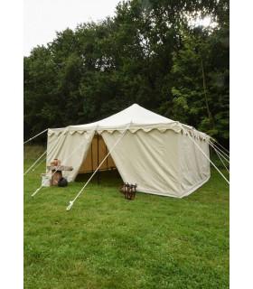 Tenda medievale Herold di 6 x 6 m. cotone bianco naturale