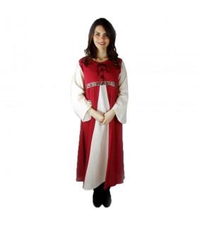 Abito medievale bicolore modello Donna rosso-bianco naturale