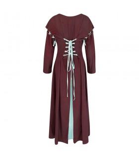 Abito medievale, rosso-bianco modello Larina