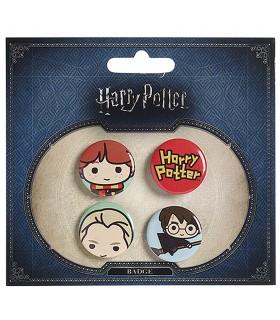 Set di 4 scudetti, Ron, Draco, Harry, e il logo di Harry Potter