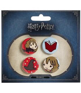 Set di 4 scudetti, Hermione, un Libro, un Cappello, e Hermione sulla scopa