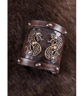 Bracciale Viking in pelle Double Dragon