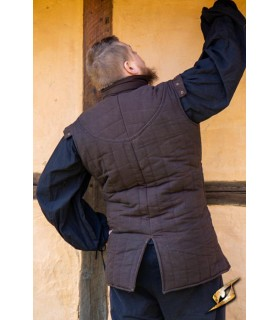Gambesón Guerriero medievale, senza maniche, colore marrone