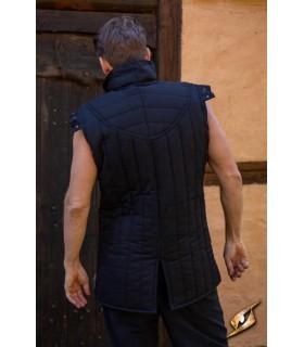 Gambesón Guerriero medievale, senza maniche, colore nero
