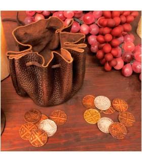 Borsa viking in pelle con 8 monete
