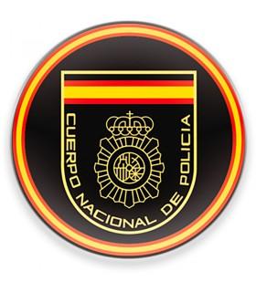 Magnete Corpo Nazionale di Polizia spagnola CNP, sfondo nero, per frigorifero