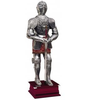 stampe d'argento armatura naturale, vestito marrone e la spada nelle sue mani