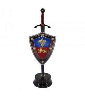 Impostare il Principe nero, letter opener con scudo e stand