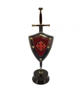 Impostare Croce dei Catari, letter opener con scudo e stand
