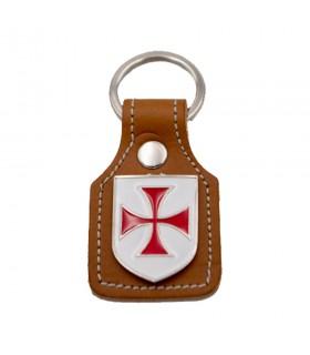 Portachiavi in pelle marrone e metallo Croce Templare