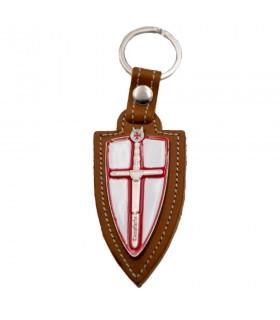 Portachiavi in pelle marrone e ottone Spada dei Templari