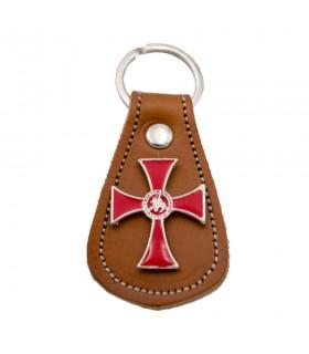 Portachiavi in pelle marrone e Croce in metallo e un sigillo dei cavalieri Templari
