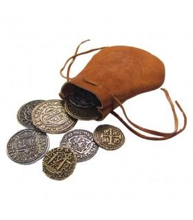Borsa in pelle con 8 monete spagnole