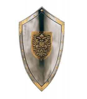 Inciso scudo con aquile e borchie dorate intorno
