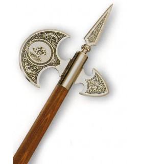ascia d'oro medievale in acciaio al carbonio