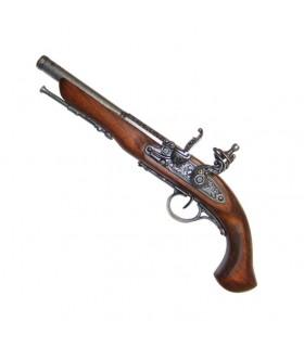 Pistola a pietra focaia, XVIII secolo. (Mancino)