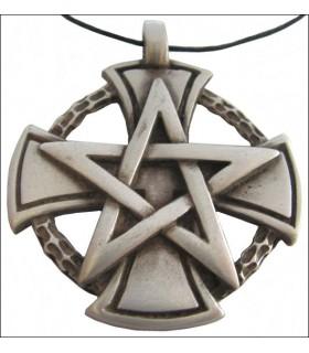 Templare pentagramma croce pendente