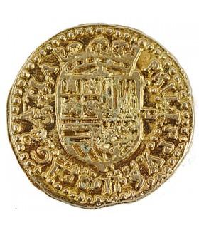 Moneta 2 Scudi dorata, 3 cm. (doblone)